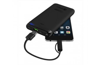 Puro FCBB100P4BLK Power Bank 10000mAh Cavo 2in1 Micro USB e Type-C, Nero