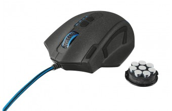 Trust GXT 155 USB Mano destra Nero, Blu mouse