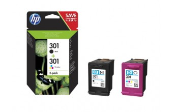 HP 301 2-pack Black/Tri-color Original Ink Cartridges 3ml 3ml 190pagine 165pagine Nero, Ciano, Giallo
