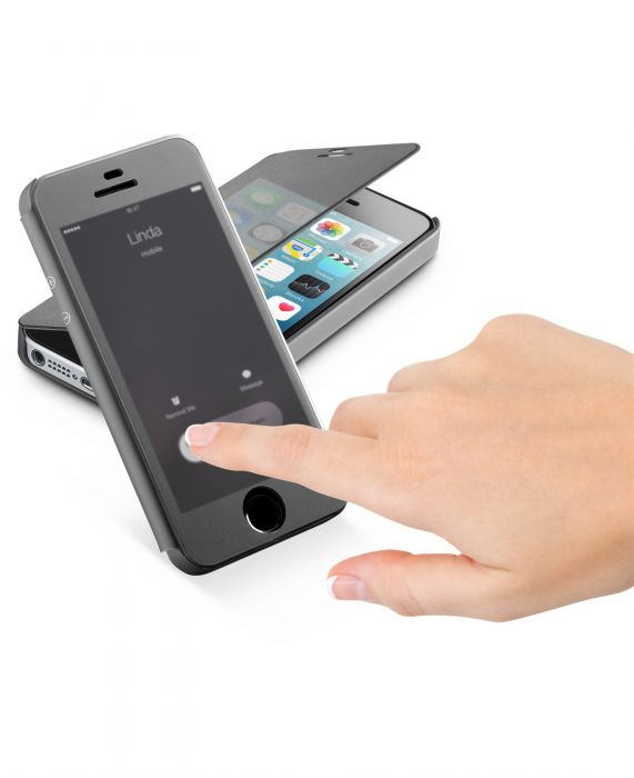 Cellularline Book Touch - iPhone SE/5S/5 Custodia a libro con sportellino touch Nero