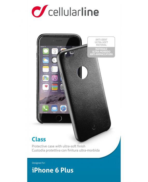 Cellularline Class - iPhone 6S/6 Plus Cover rigida con elegante effetto pelle e interni in microfibra Nero